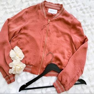Lucy Paris Zip-Front Bomber Jacket in Pink